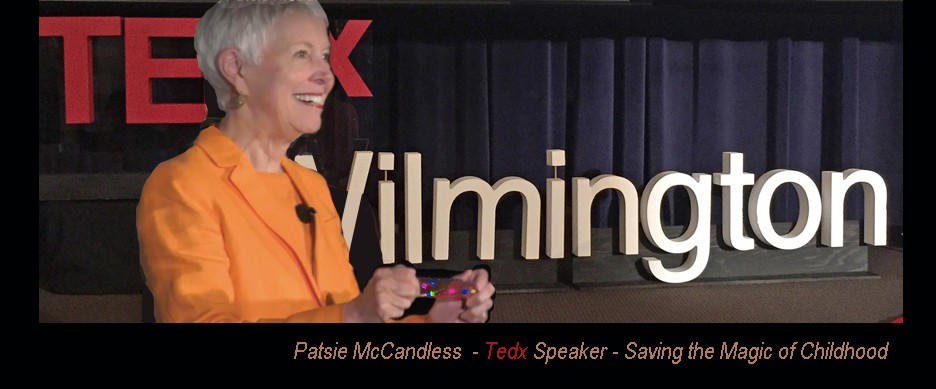 Patsie McCandless holding the light stick